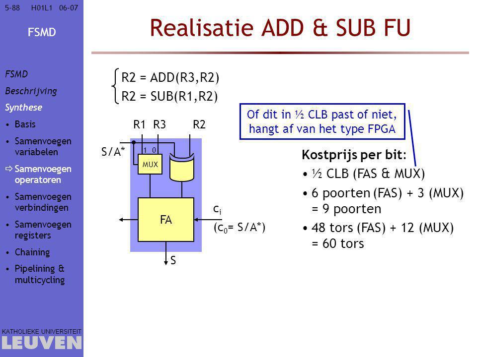 Of dit in ½ CLB past of niet, hangt af van het type FPGA