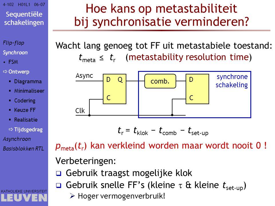 Hoe kans op metastabiliteit bij synchronisatie verminderen