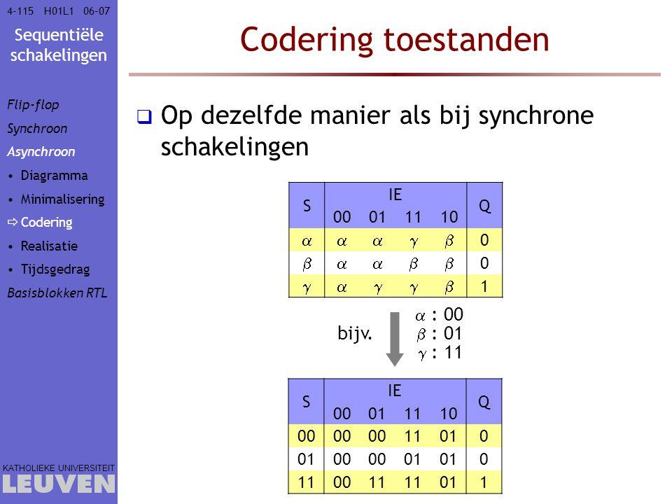Codering toestanden Op dezelfde manier als bij synchrone schakelingen
