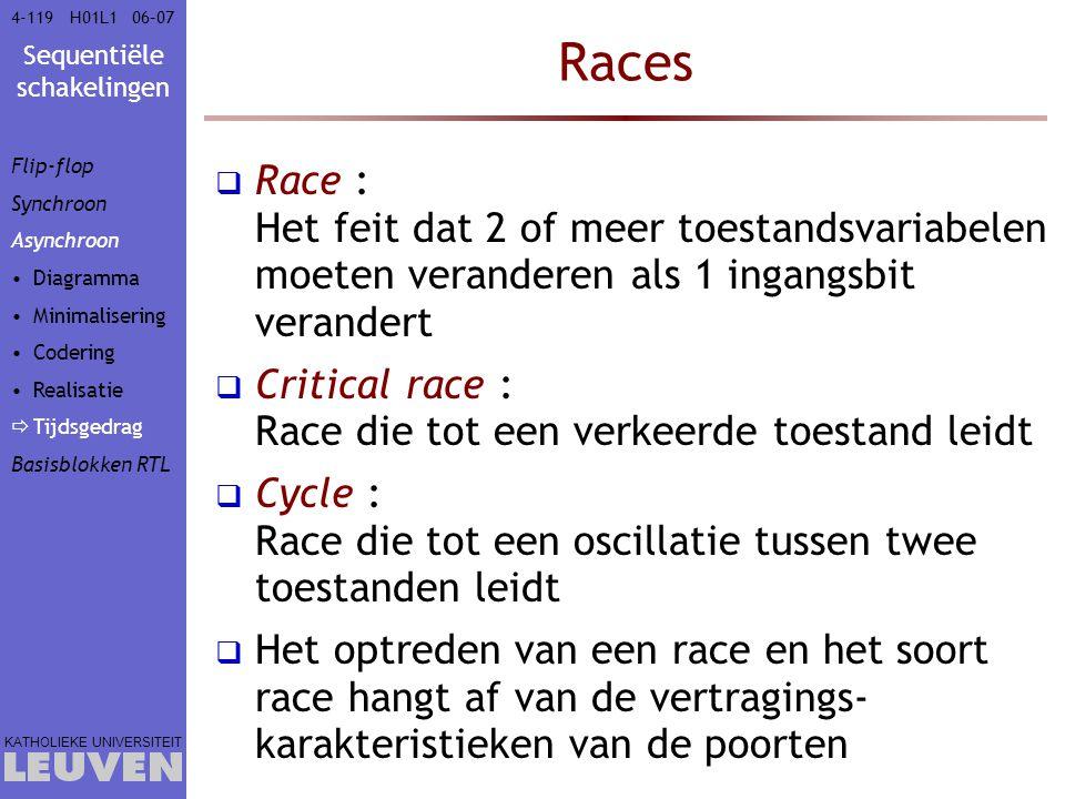 Vak - hoofdstuk Races. Flip-flop. Synchroon. Asynchroon. Diagramma. Minimalisering. Codering.