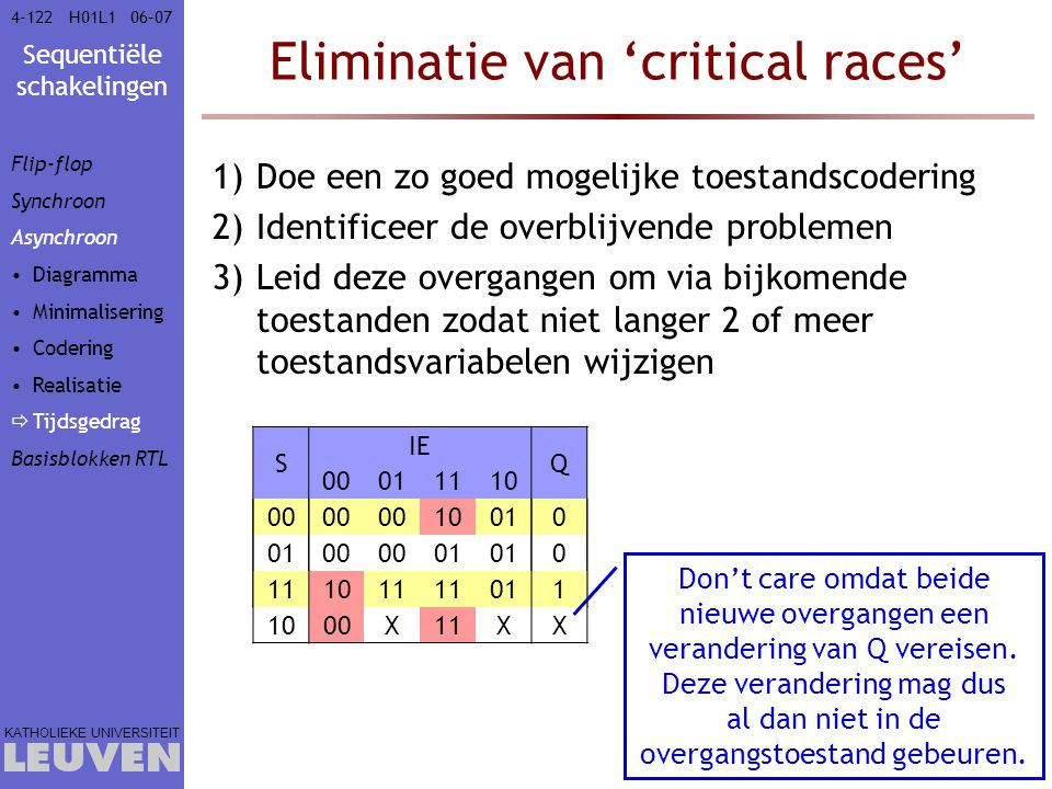 Eliminatie van 'critical races'