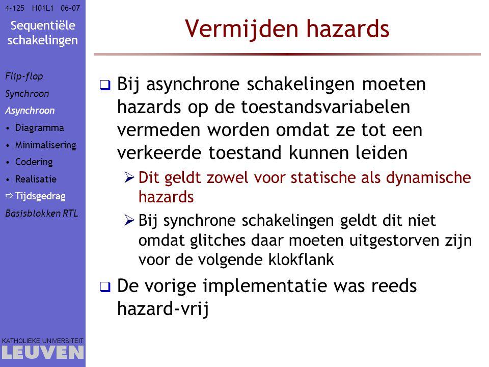 Vak - hoofdstuk Vermijden hazards. Flip-flop. Synchroon. Asynchroon. Diagramma. Minimalisering.