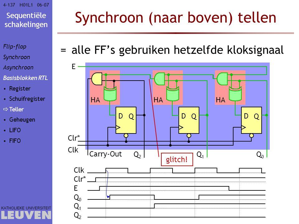 Synchroon (naar boven) tellen