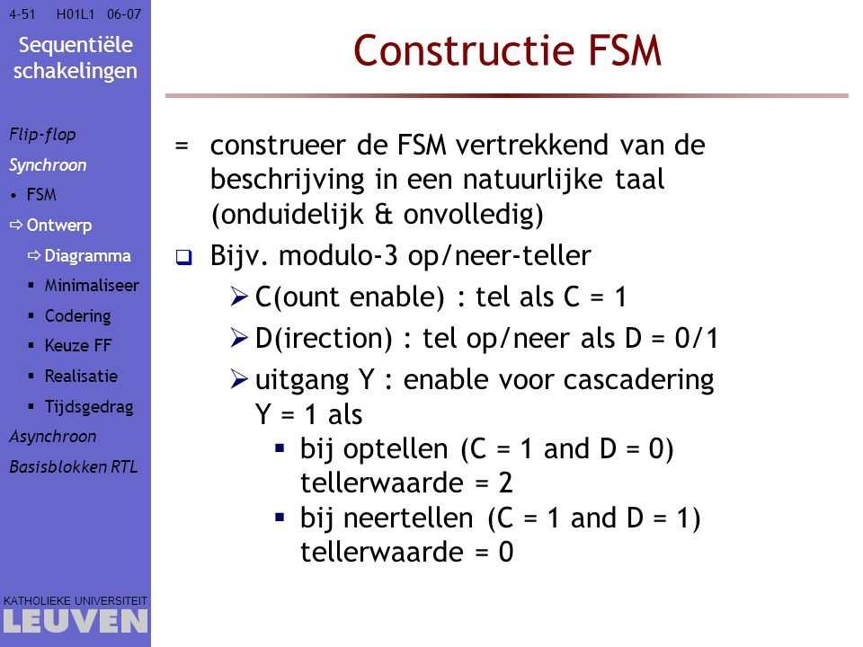 Vak - hoofdstuk Constructie FSM. Flip-flop. Synchroon. FSM. Ontwerp. Diagramma. Minimaliseer.