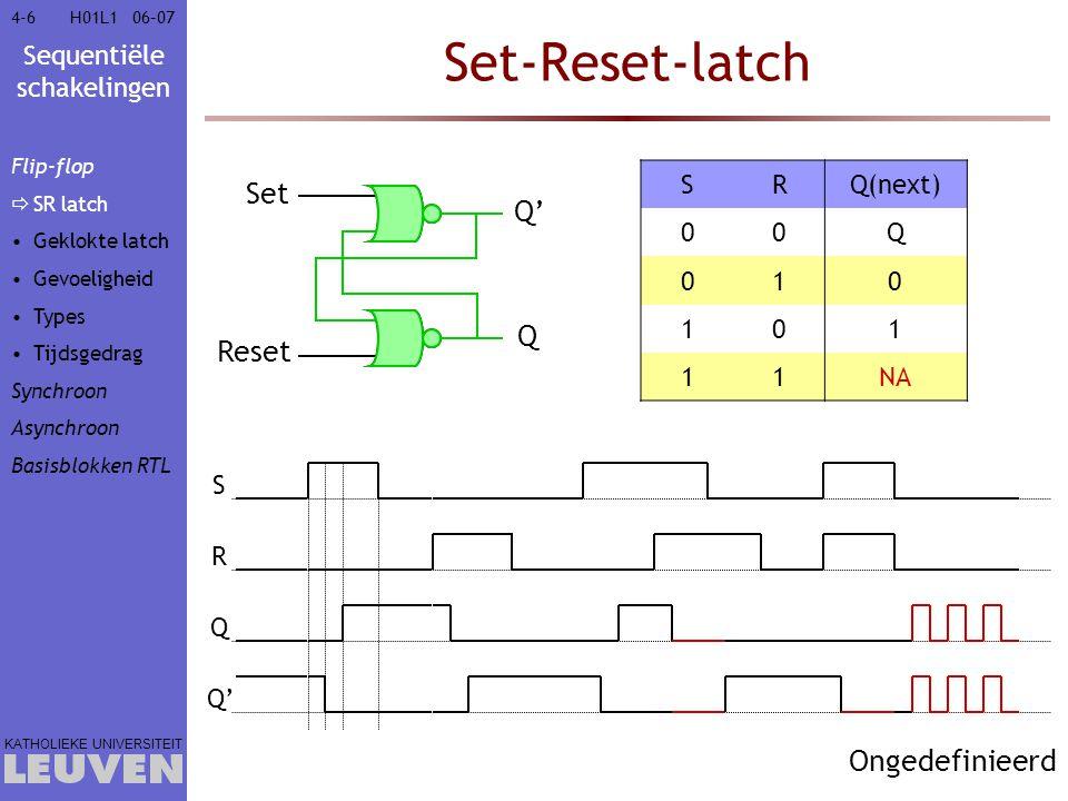 Set-Reset-latch Set Q' Q Reset Ongedefinieerd S R Q(next) Q 1 NA S R Q