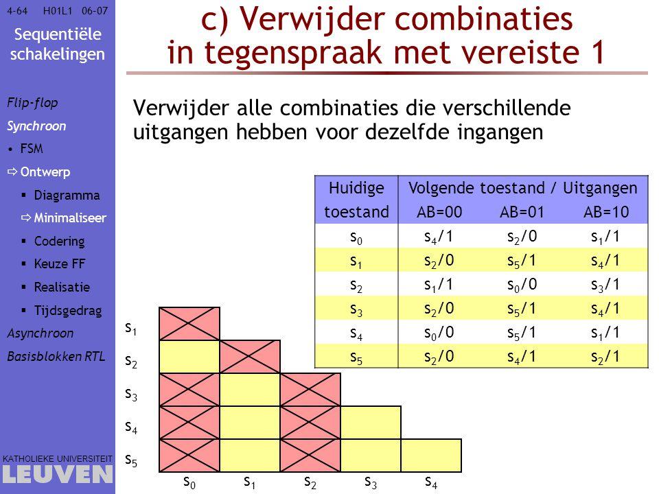 c) Verwijder combinaties in tegenspraak met vereiste 1