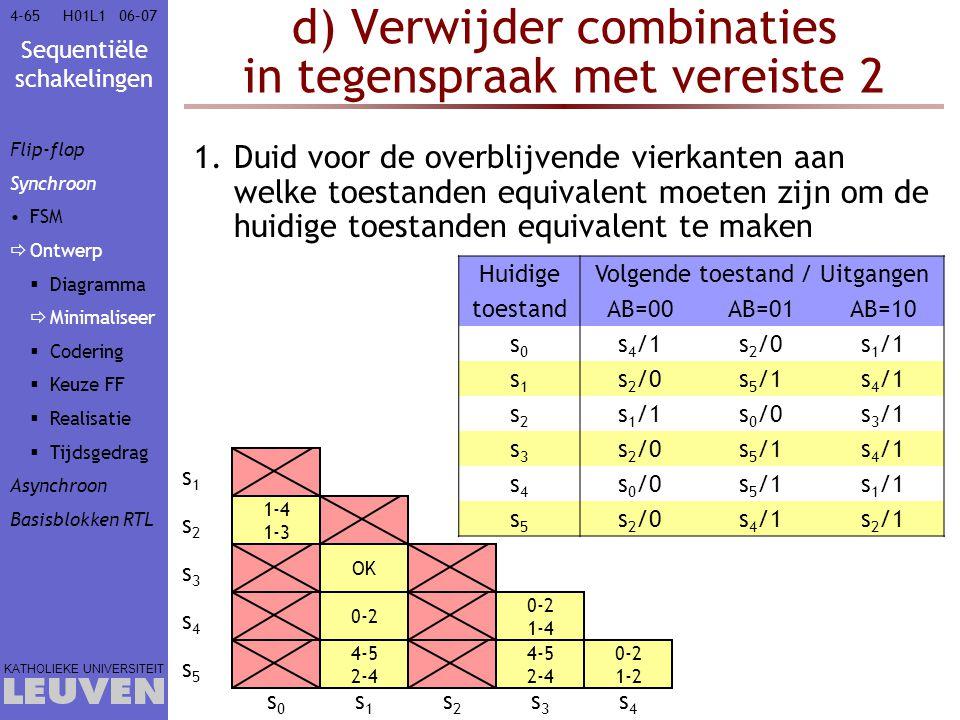 d) Verwijder combinaties in tegenspraak met vereiste 2