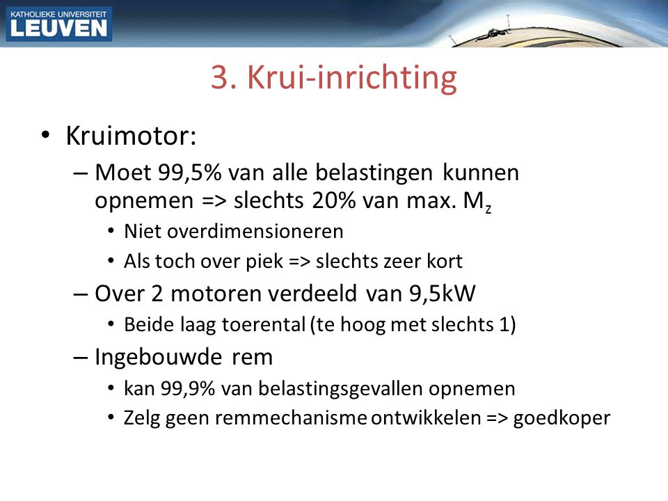 3. Krui-inrichting Kruimotor: