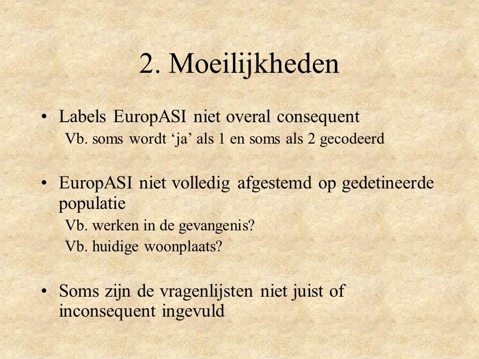 2. Moeilijkheden Labels EuropASI niet overal consequent