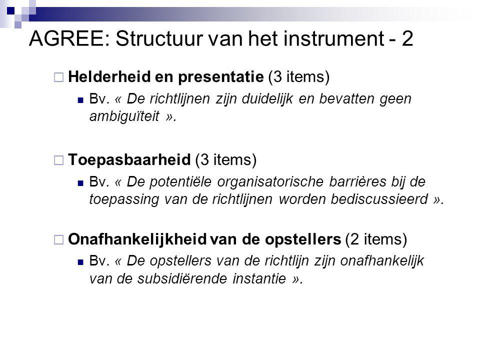 AGREE: Structuur van het instrument - 2