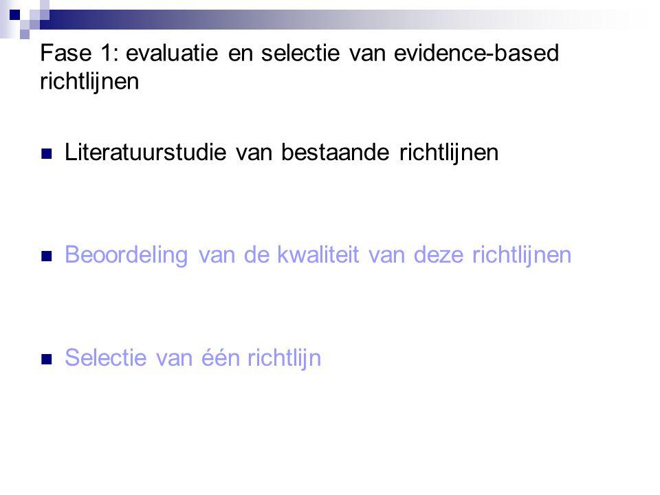 Fase 1: evaluatie en selectie van evidence-based richtlijnen