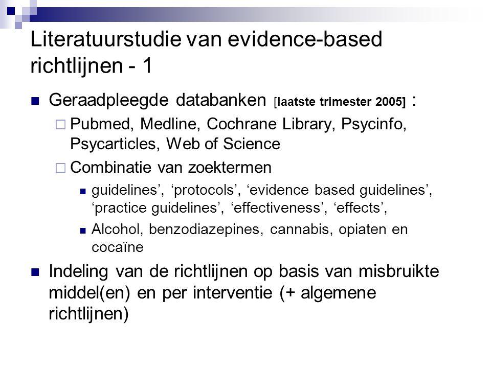 Literatuurstudie van evidence-based richtlijnen - 1