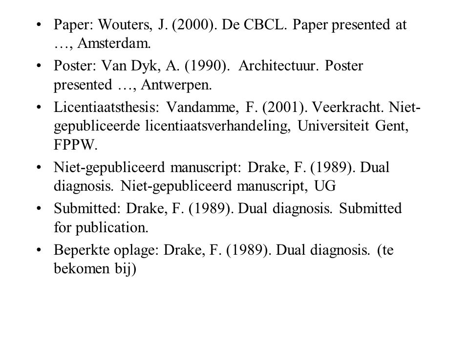 Paper: Wouters, J. (2000). De CBCL. Paper presented at …, Amsterdam.