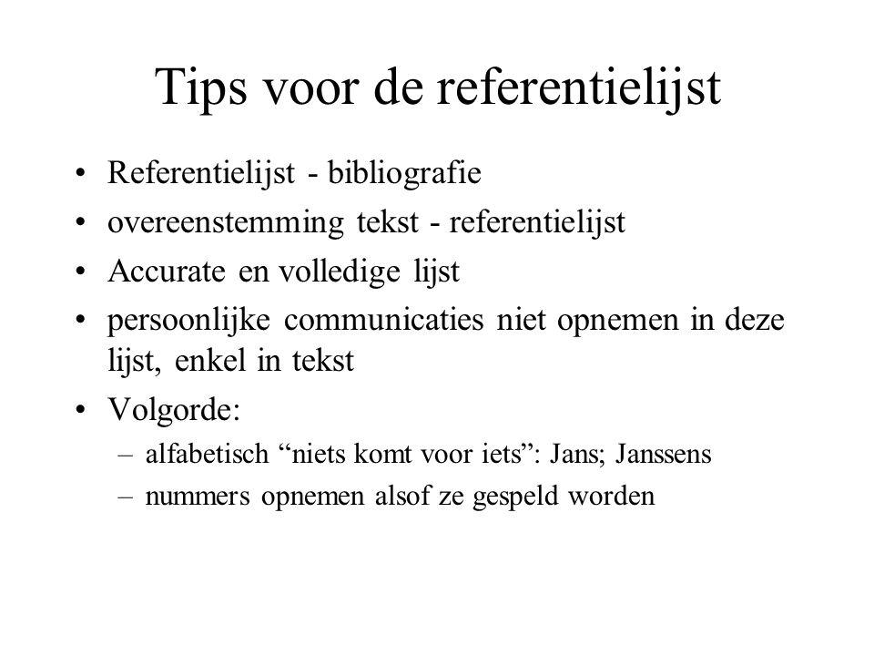 Tips voor de referentielijst