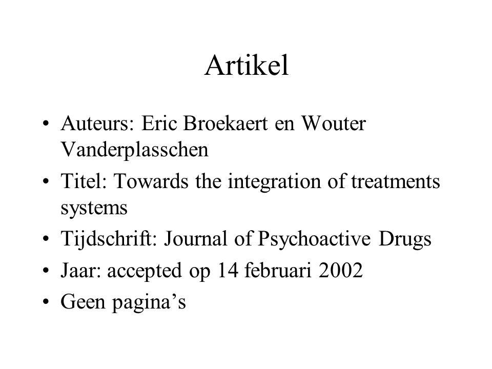 Artikel Auteurs: Eric Broekaert en Wouter Vanderplasschen