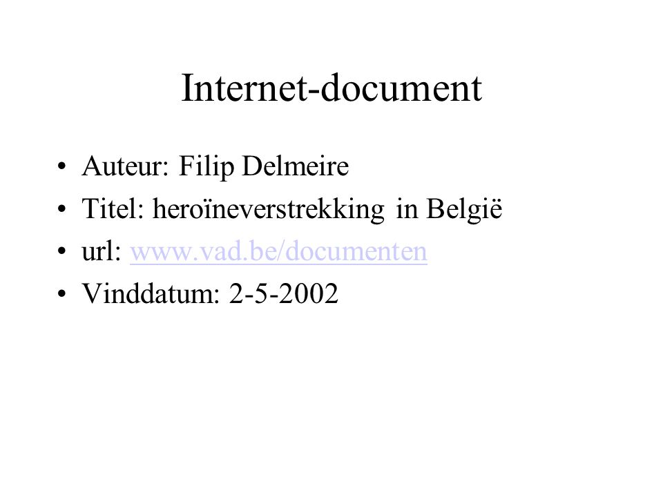 Internet-document Auteur: Filip Delmeire