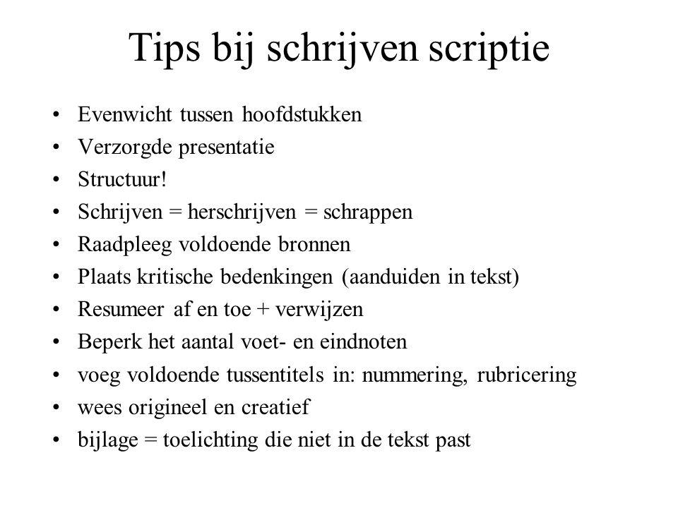 Tips bij schrijven scriptie