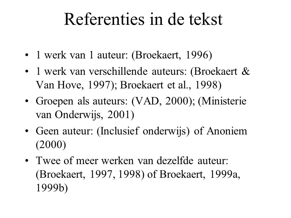Referenties in de tekst