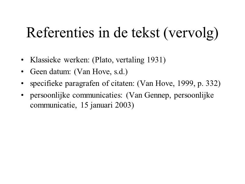 Referenties in de tekst (vervolg)