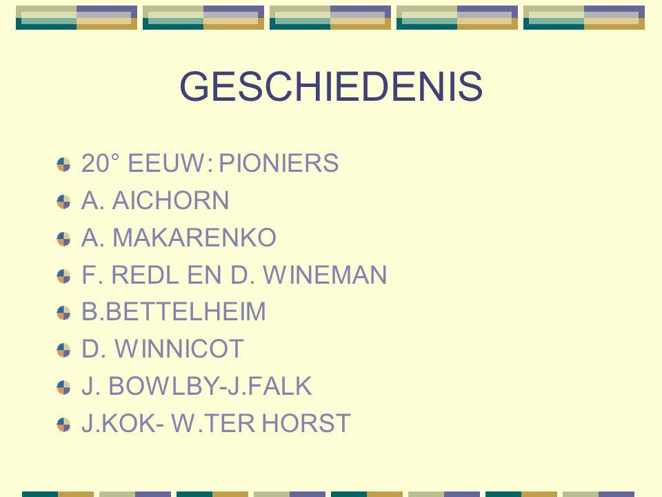 GESCHIEDENIS 20° EEUW: PIONIERS A. AICHORN A. MAKARENKO