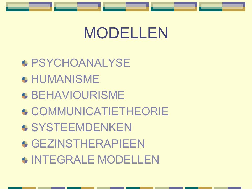 MODELLEN PSYCHOANALYSE HUMANISME BEHAVIOURISME COMMUNICATIETHEORIE