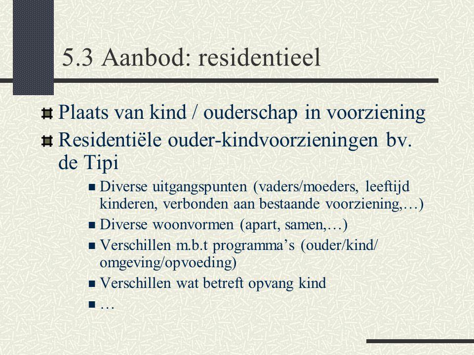 5.3 Aanbod: residentieel Plaats van kind / ouderschap in voorziening