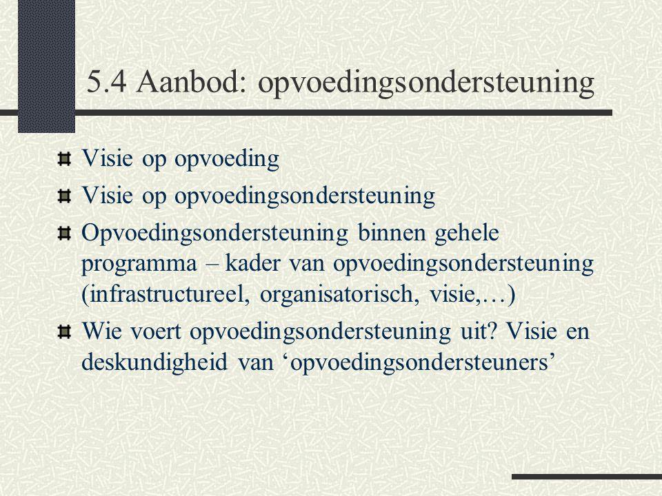 5.4 Aanbod: opvoedingsondersteuning