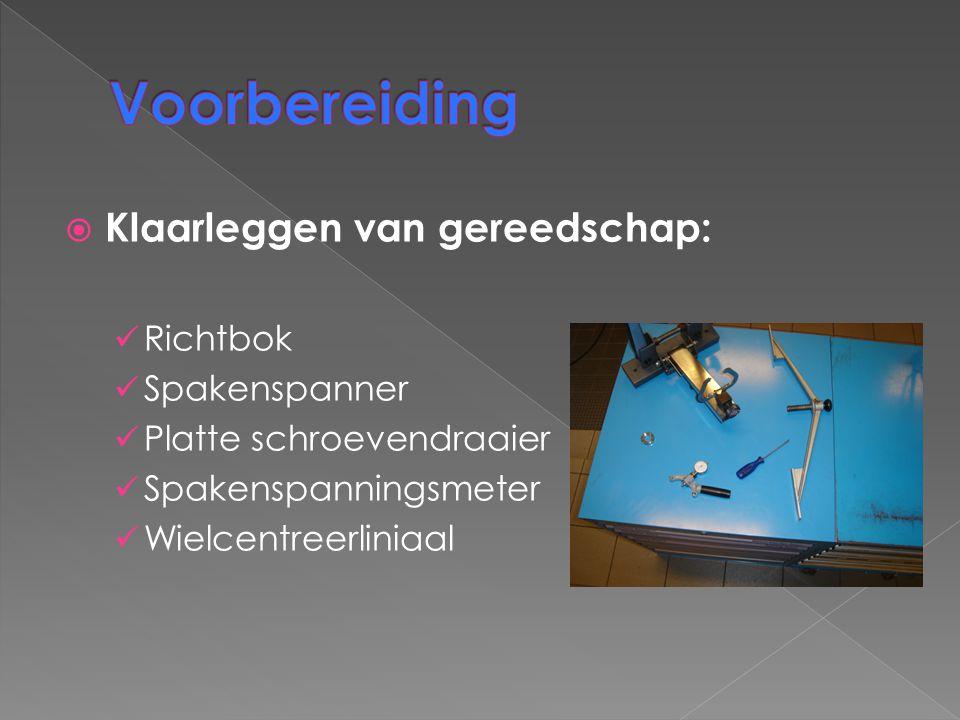 Voorbereiding Klaarleggen van gereedschap: Richtbok Spakenspanner