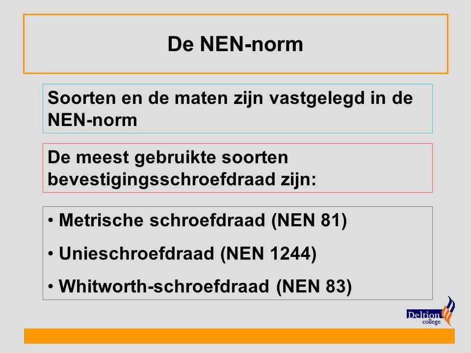De NEN-norm Soorten en de maten zijn vastgelegd in de NEN-norm