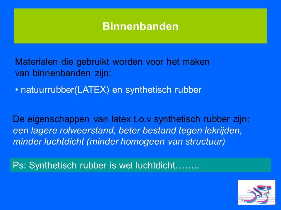 Binnenbanden Materialen die gebruikt worden voor het maken van binnenbanden zijn: natuurrubber(LATEX) en synthetisch rubber.