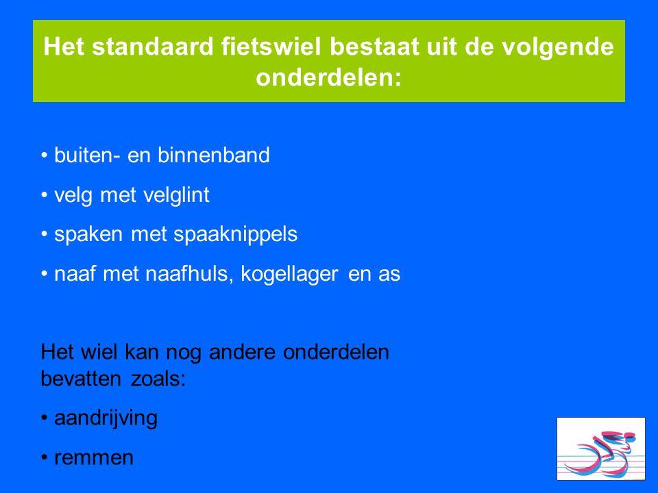 Het standaard fietswiel bestaat uit de volgende onderdelen: