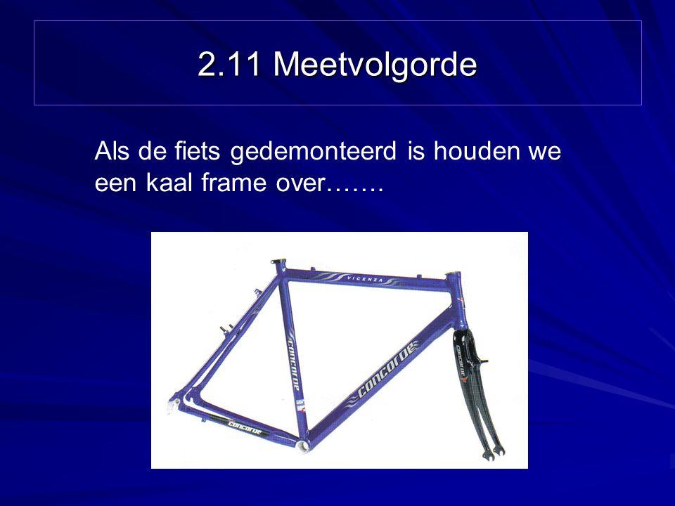 2.11 Meetvolgorde Als de fiets gedemonteerd is houden we een kaal frame over…….