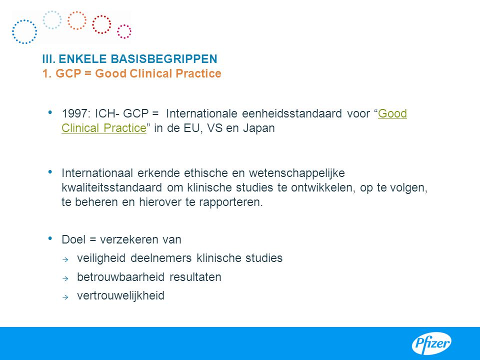 III. ENKELE BASISBEGRIPPEN 1. GCP = Good Clinical Practice