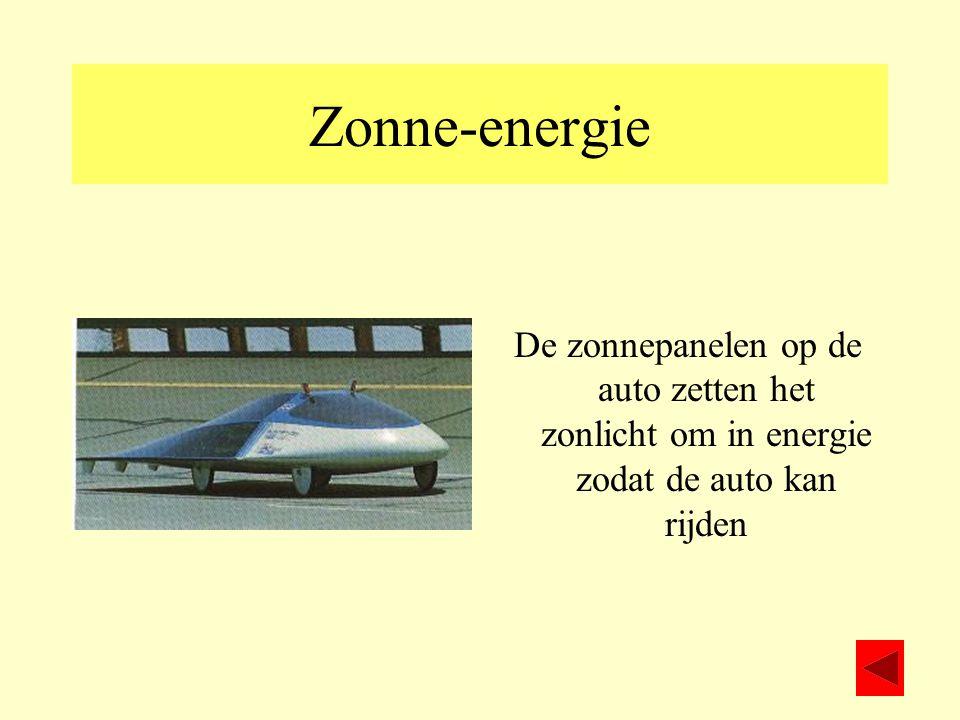 Zonne-energie De zonnepanelen op de auto zetten het zonlicht om in energie zodat de auto kan rijden
