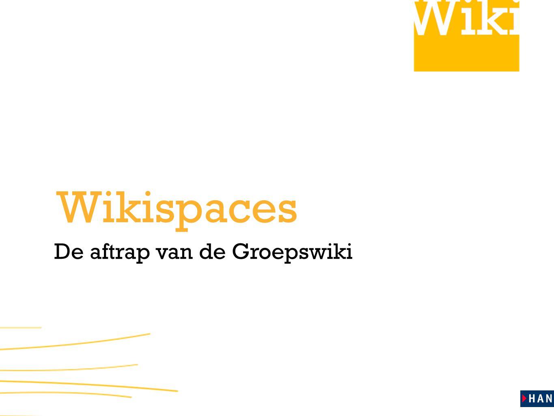 Wikispaces De aftrap van de Groepswiki