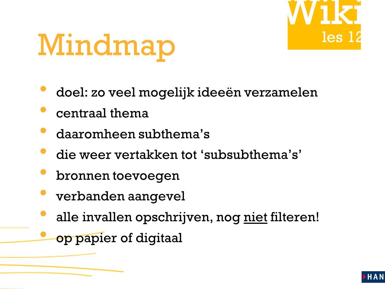 Mindmap doel: zo veel mogelijk ideeën verzamelen centraal thema
