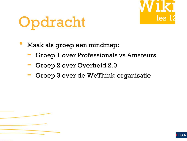 Opdracht Maak als groep een mindmap: