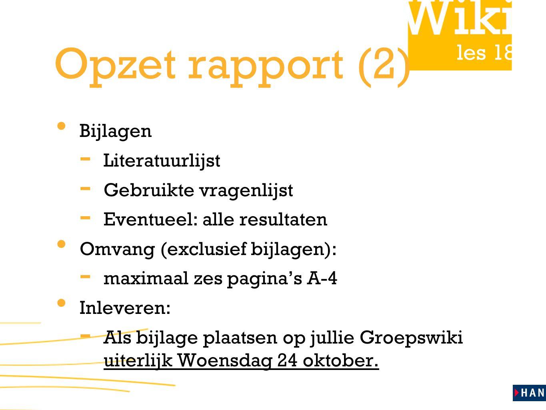 Opzet rapport (2) Bijlagen Literatuurlijst Gebruikte vragenlijst