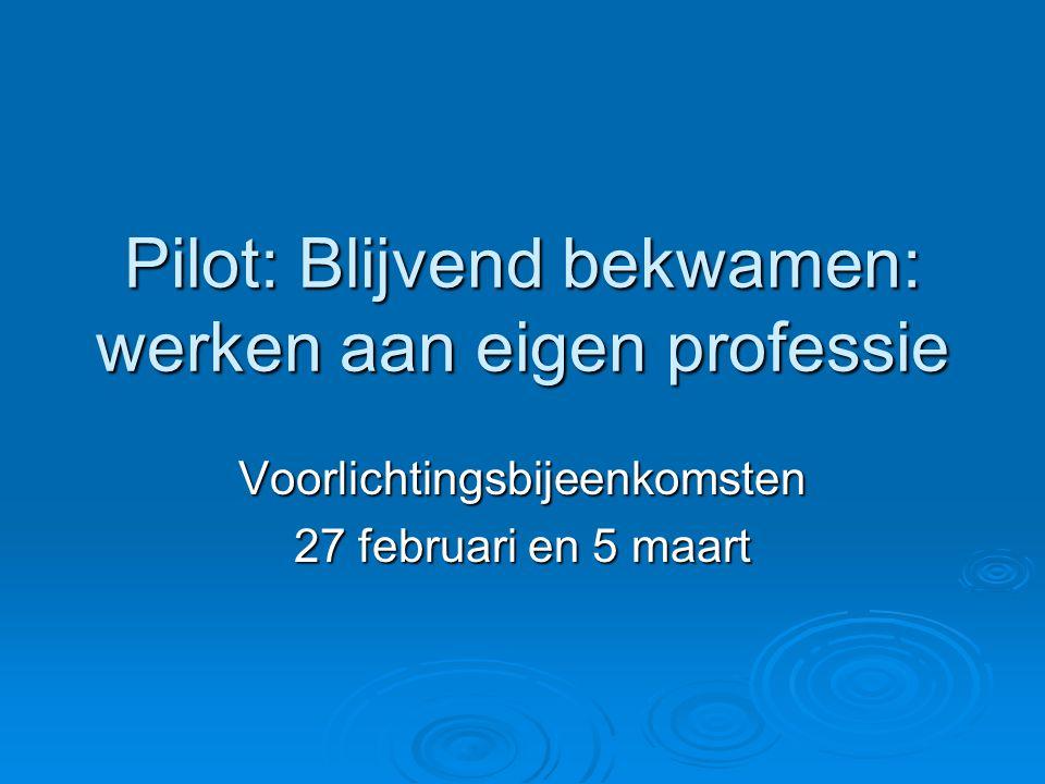 Pilot: Blijvend bekwamen: werken aan eigen professie