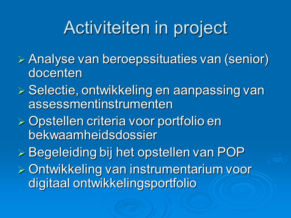 Activiteiten in project