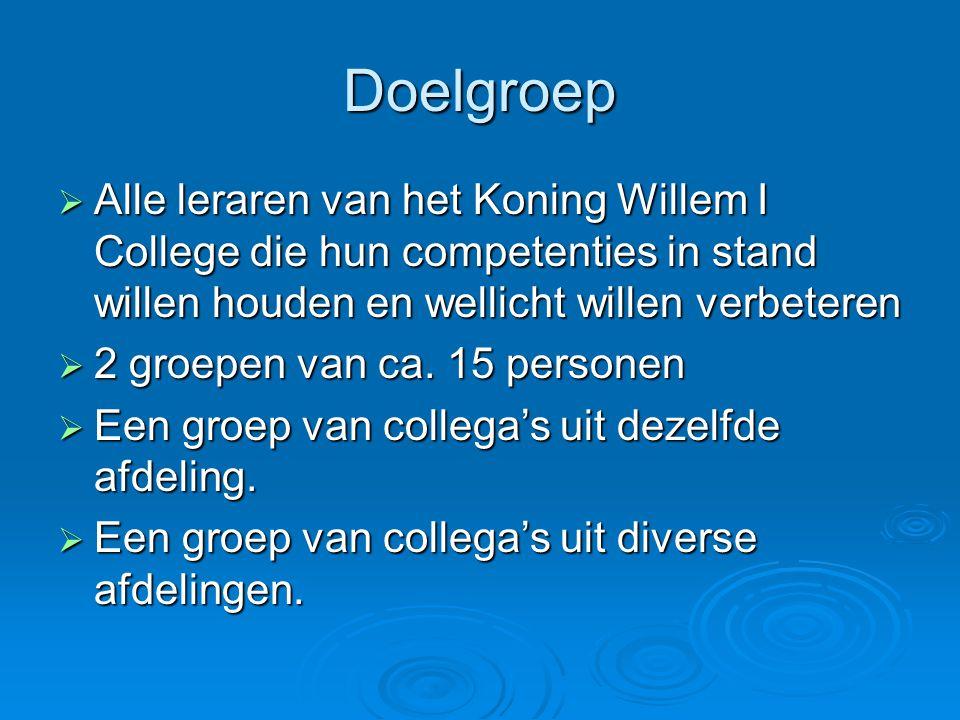 Doelgroep Alle leraren van het Koning Willem I College die hun competenties in stand willen houden en wellicht willen verbeteren.
