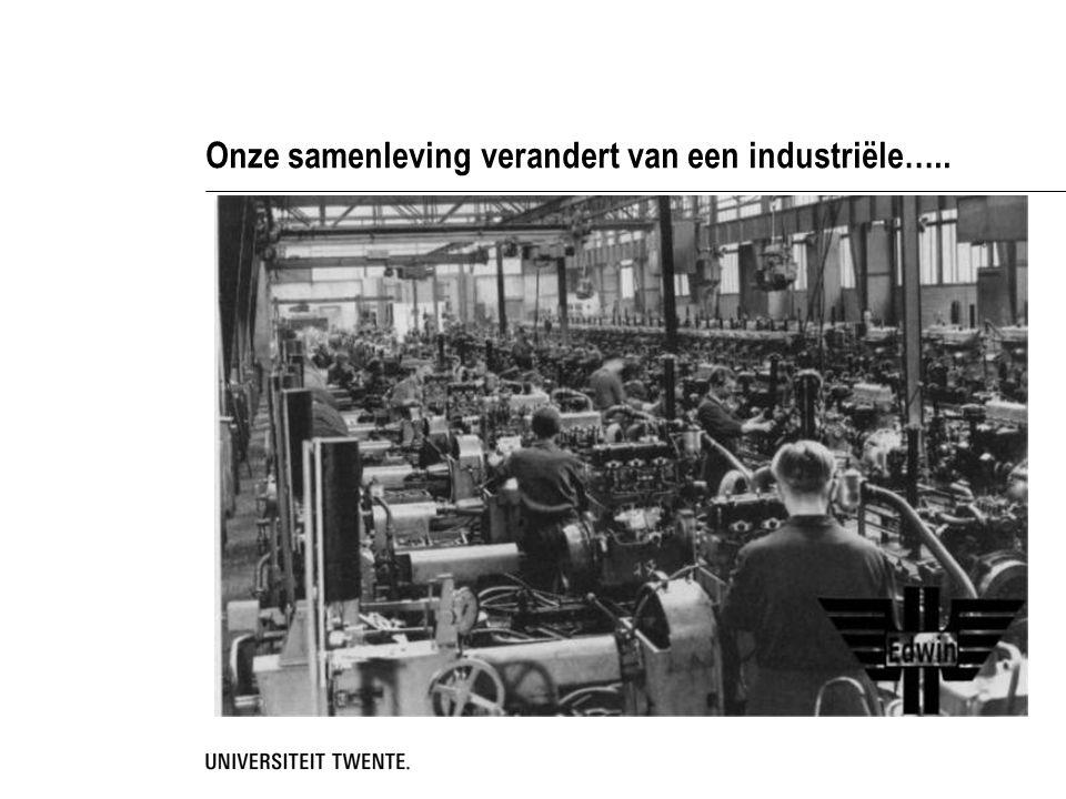Onze samenleving verandert van een industriële…..