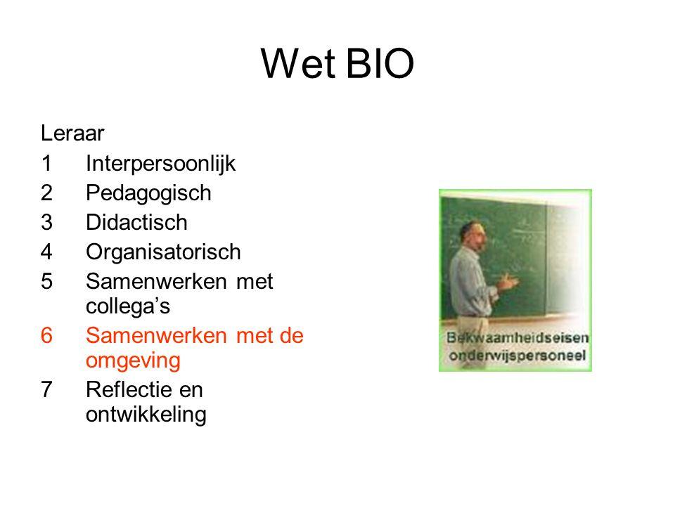 Wet BIO Leraar Interpersoonlijk Pedagogisch Didactisch Organisatorisch