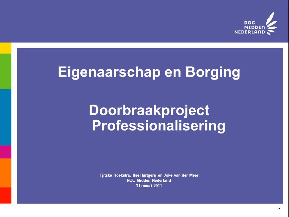 Eigenaarschap en Borging Doorbraakproject Professionalisering