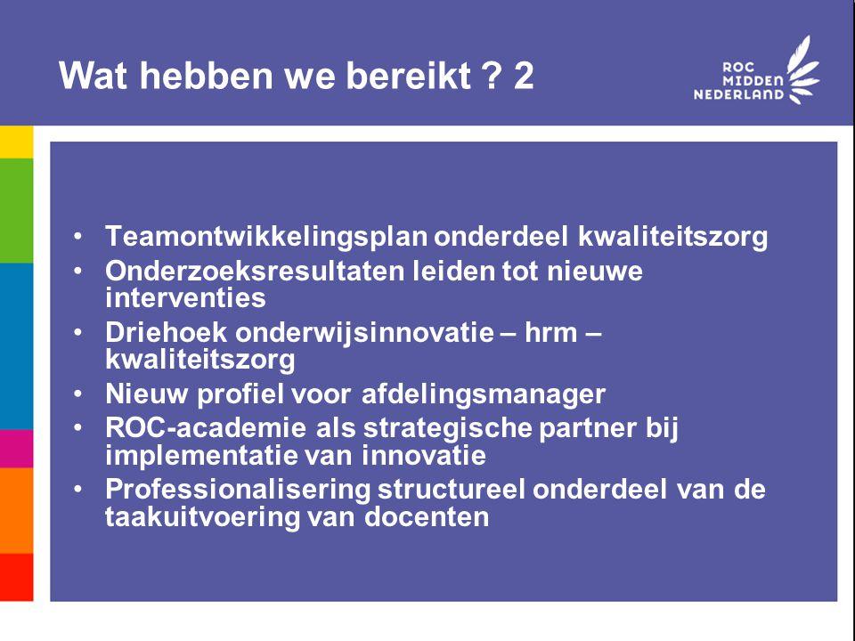 Wat hebben we bereikt 2 Teamontwikkelingsplan onderdeel kwaliteitszorg. Onderzoeksresultaten leiden tot nieuwe interventies.