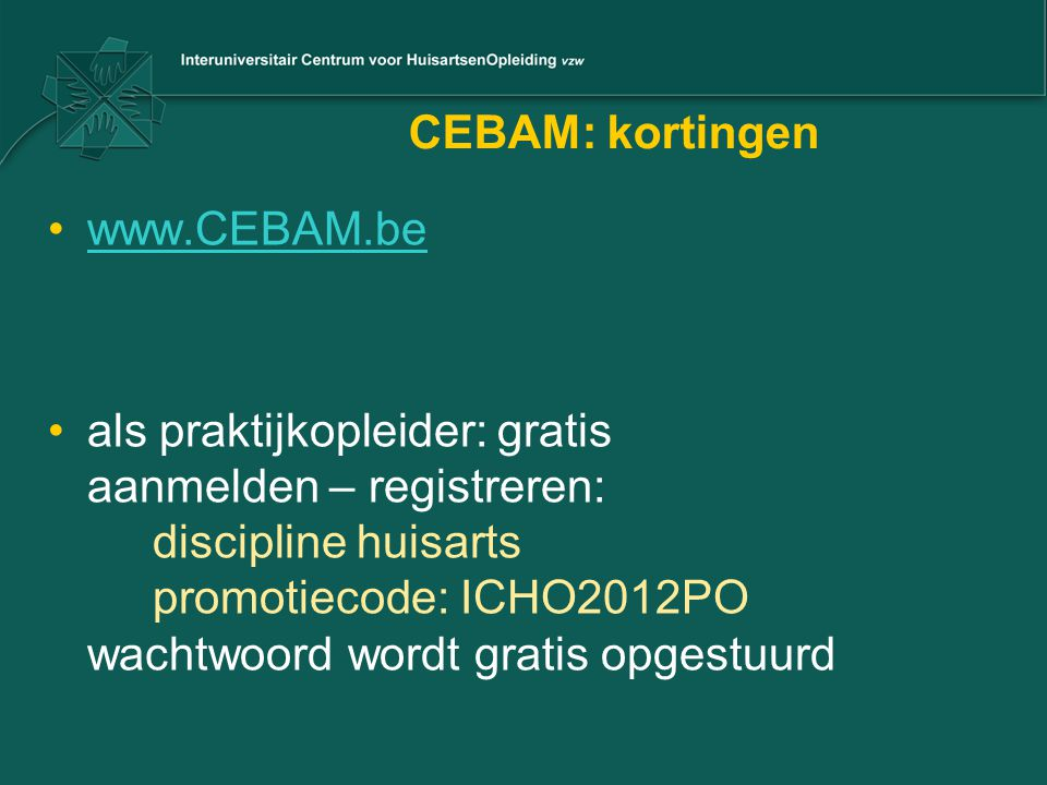 CEBAM: kortingen www.CEBAM.be.