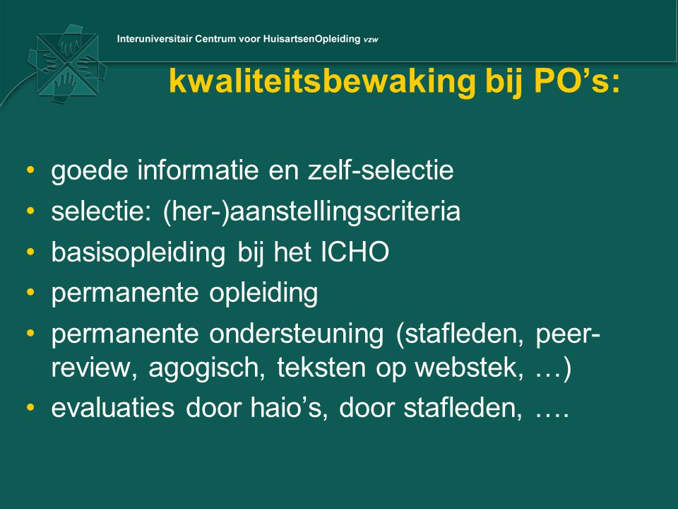 kwaliteitsbewaking bij PO's:
