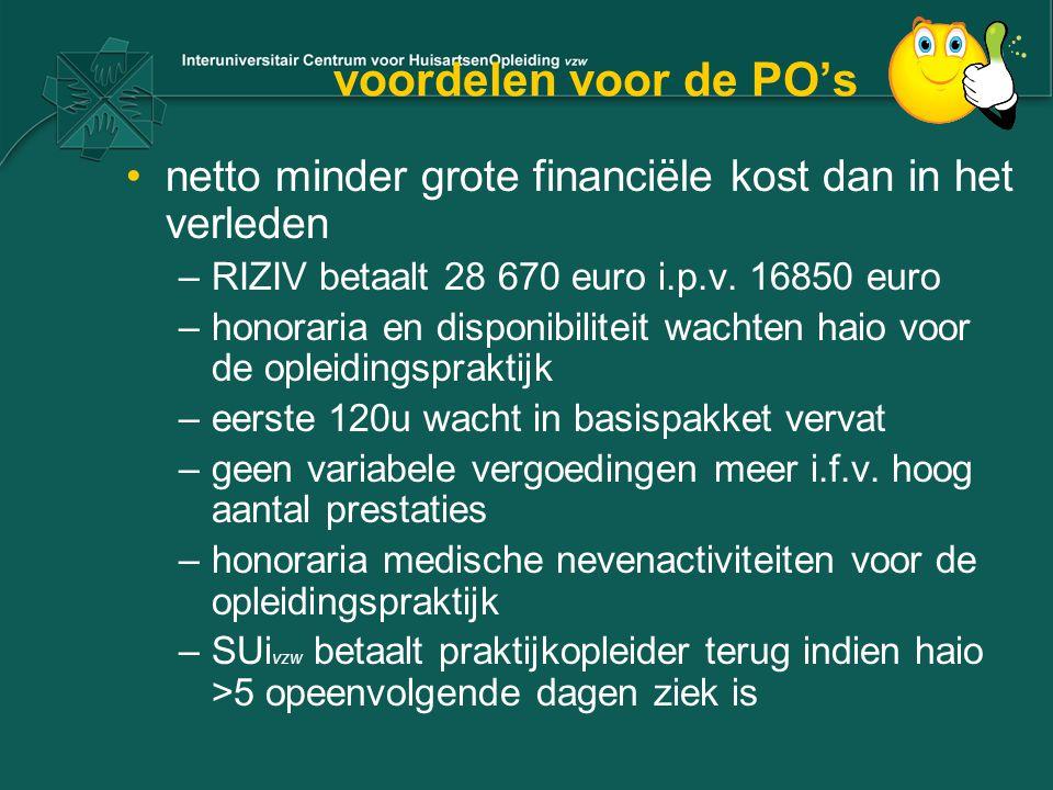 voordelen voor de PO's netto minder grote financiële kost dan in het verleden. RIZIV betaalt 28 670 euro i.p.v. 16850 euro.