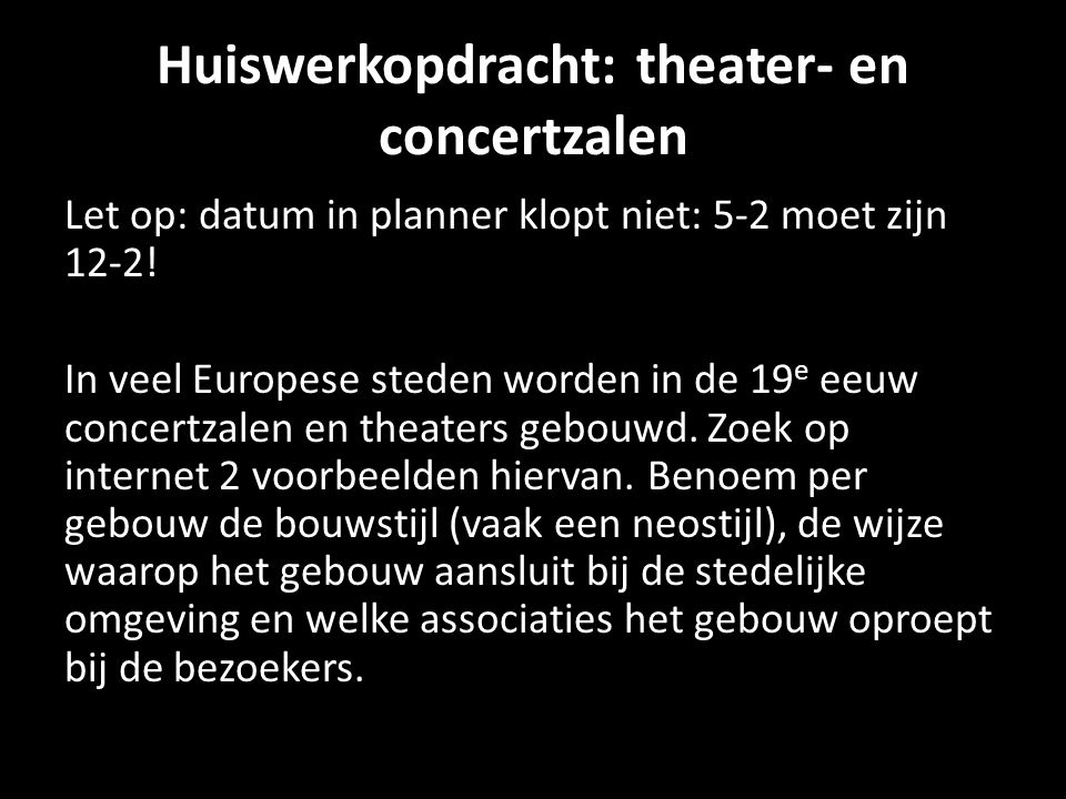 Huiswerkopdracht: theater- en concertzalen