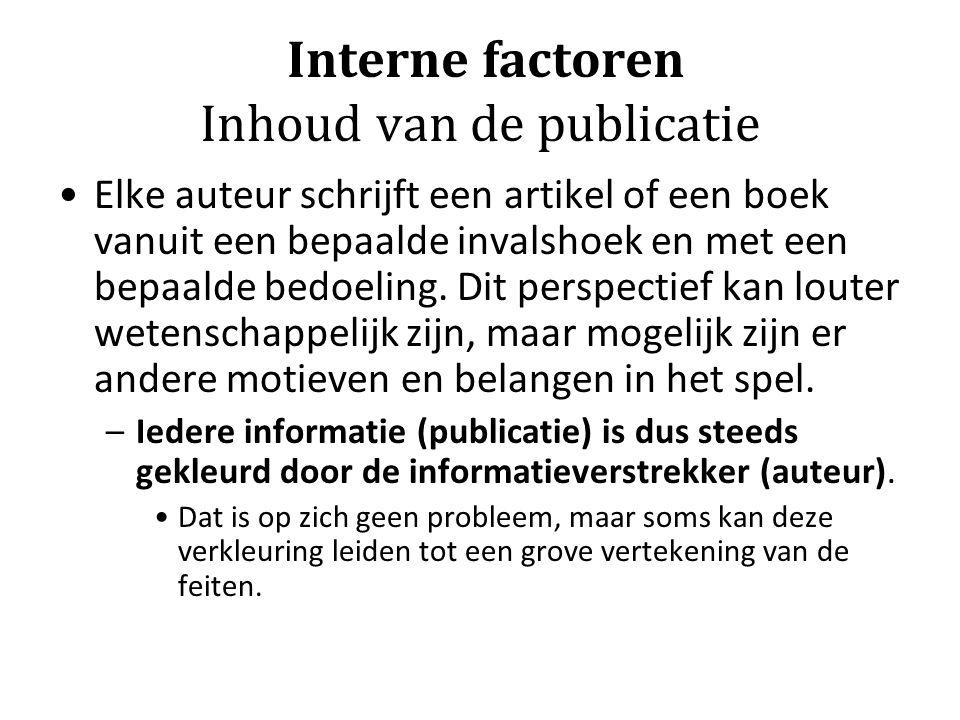 Interne factoren Inhoud van de publicatie